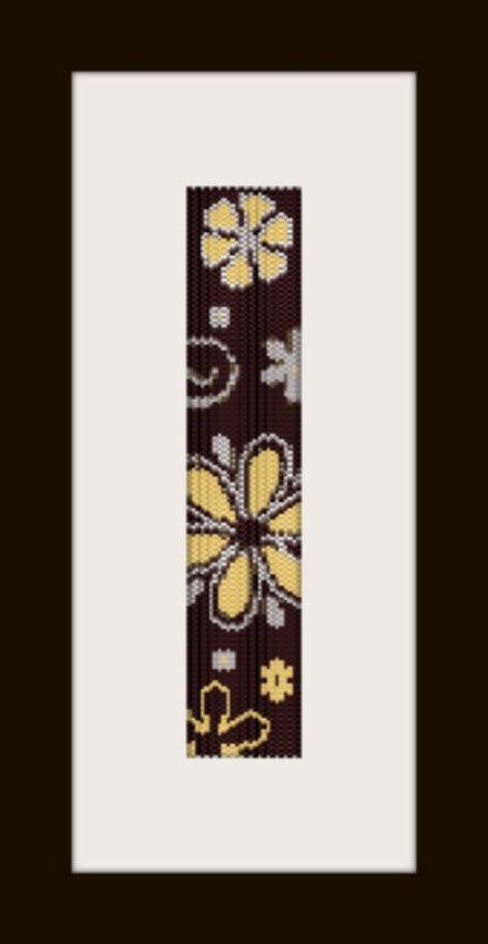 Fiori marroni pattern bracelet in peyote stitch pattern door monjka