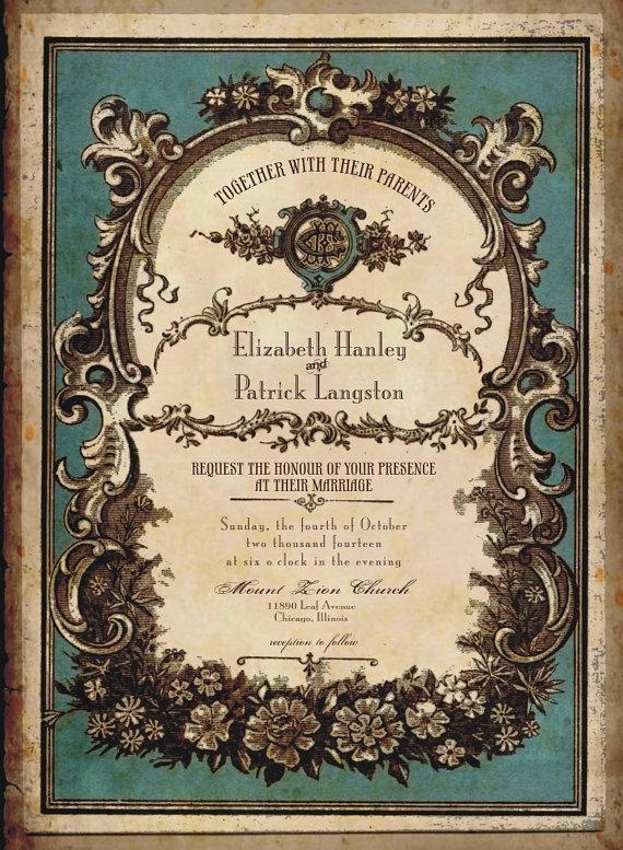 Vintage Perfume Label Wedding Invitations