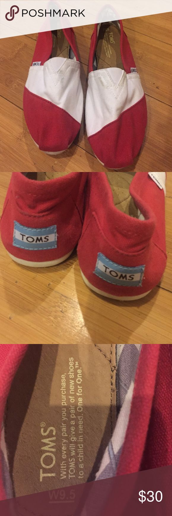 TOMS classic flats red with white stripe TOMS classic flats, red with white stripe. Worn less than 5 times TOMS Shoes Flats & Loafers