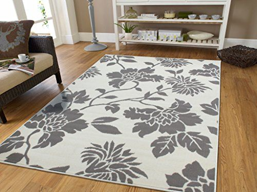Large Grey Modern Rugs With Tree Branches Area Flowers Gray White Abstract Contemporary For Dining Rooms Clearance