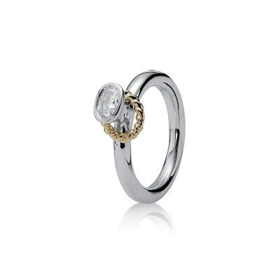 PANDORA | Anel em prata e ouro 14k, zircónia cúbica