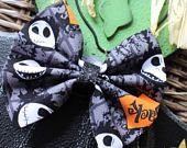 Baby Girl | Newborn | Toddler | Girls Halloween Jack Bow Nylon Headband | Hair Clip | Boy Bow Tie | Pig Tail Bows