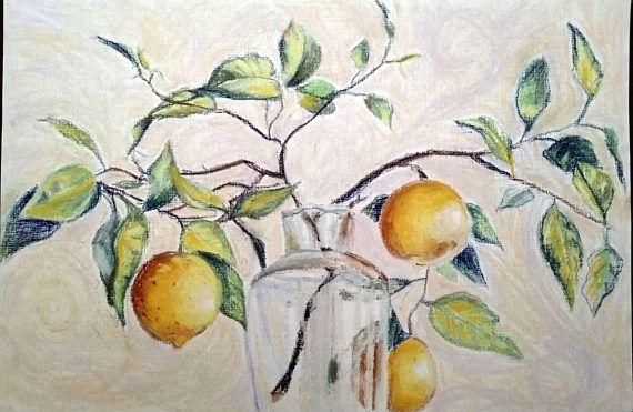 Still life Lemon branch original pastel painting kitchen