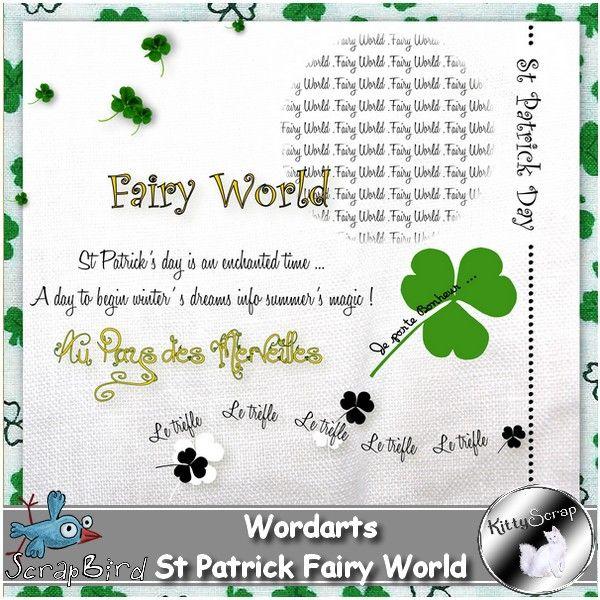 wordart st patrick fairy world (CU/PU) by kittyscrap