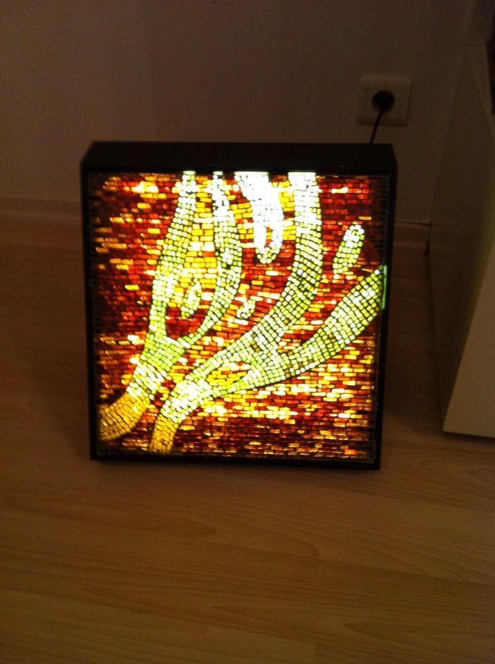 Mozaik yer aydınlatma özgün desen 35x35cm  Tasarım ve uygulama Hilal Taşcı Üğütgen