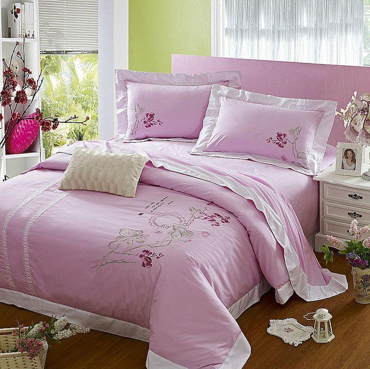 Home textile,100% cotton pink bedding set,princess duvet cover set,rustic bedspread,bedclothes,bed sheet,pillowcase $99.99