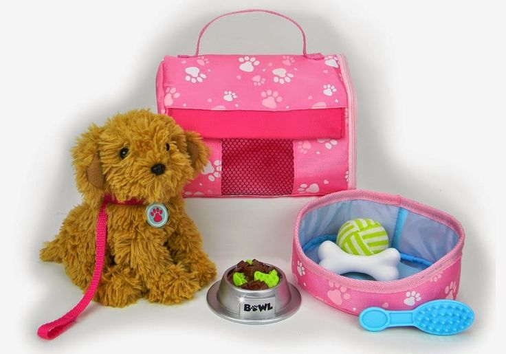 """Pets for 18 Inch Dolls, Complete Puppy Dog Play Set, Perfect Doll Toy fit for 18"""" American Girl Dolls & More! Cuddly Dog, Leash, Carrier, Bed, Food & Play Dog Accessories. http://livinggood-entrepeneural.blogspot.com/2014/10/toys-for-girls.html"""