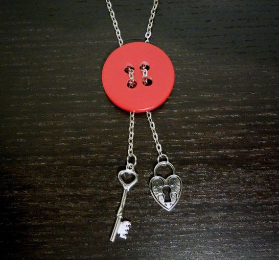 Key to my Heart Red Button Necklace by HoneybeeAlley on Etsy, $24.00