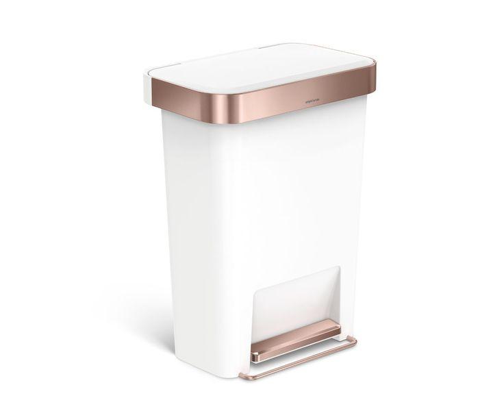 simplehuman | 45L rectangular pedal bin with liner pocket, rose gold / white plastic