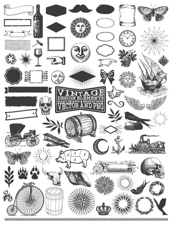 Hand Drawn Illustration Clipart Pack – Classic Rustic Hand Drawn Clipart Clip Artwork PNG Vector EPS AI