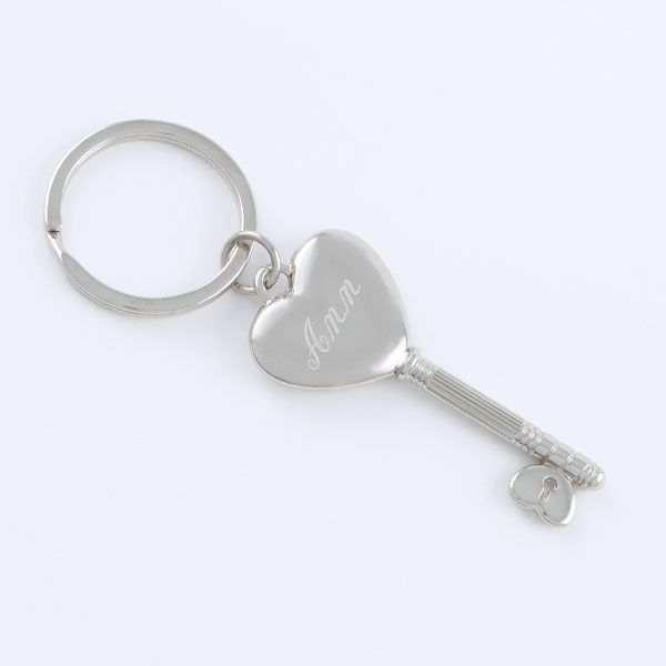 Key to My Heart Keychain - This is a gift that will let her know that she does really hold the key to your heart. This beautiful key chain has a heart at the top of a key shaped design.