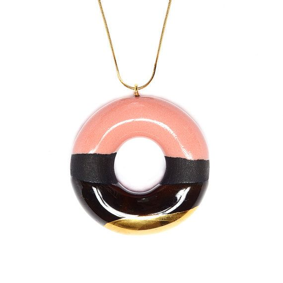 Colourful Circle Chain Pendant - Strawberry, Chocolate and Gold Glazed Cocoa Donut. By TADAM! Design