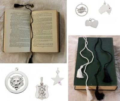 Bookmarks - TASSEL - Cord Special occasion gifts for those who don't wear jewellery, or a lovely way to present a child with a pendant that they will be able to wear at a later stage but keep safe as a bookmark while they grow.