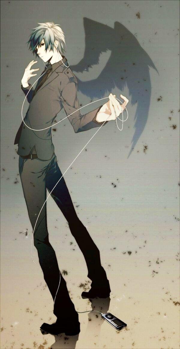 ✮ ANIME ART ✮ music. . .earbuds. . .ipod. . .anime boy. . .angel wings. . .shadow. . .kawaii