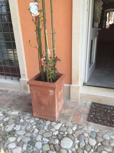 Cotone, rastrello e pennelli: Vasi shabby chic da esterno
