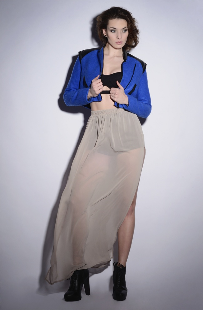 wawak/czajkowska  GIA GIA A/W 13/14 #long #transparent #skirt  #beige #black  #bralet #cropped #jacket  #royalblue  #leatherlike  #shorts