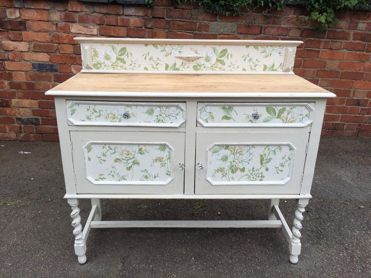 All finished beautiful sideboard painted with Frenchic Sugar Puff and then Decoupaged #frenchic paint