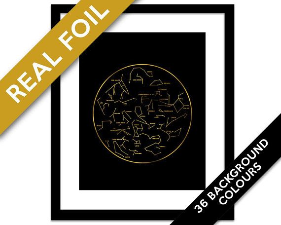 Constellation Map Gold Foil Space Art Print  Night Sky Stars