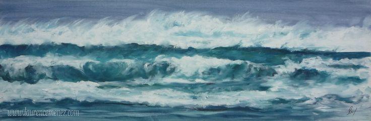 """""""Vagues tempêtes"""" toile peinte en peinture à l'huile"""