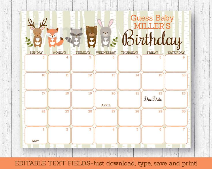 calendar woodland baby shower baby shower game due date calendar
