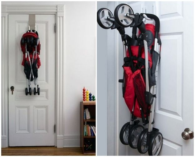 Hang the stroller up./  25 Hacks To Make Room For A Baby In Your Tiny Home (via BuzzFeed)