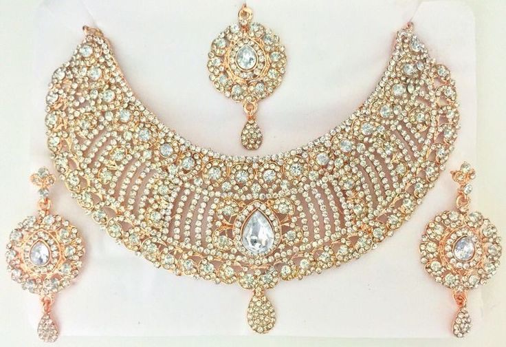 Rose Gold Indian Jewelry Bridal Jewelry Set