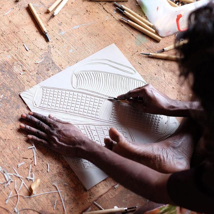 "65 Likes, 3 Comments - Babbarra Designs (@babbarradesigns) on Instagram: ""Deborah Wurrkidj creating a new lino print textile design #aboriginalart #textiles #design #print…"""