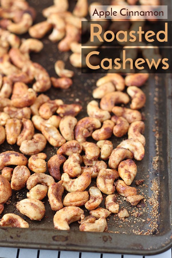 These apple cinnamon roasted cashews are crunchy, slightly sweet and combination of the sweet apples and spicy cinnamon, without overpowering the cashews