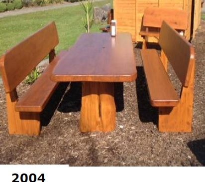 2004: Table with 2 bench Seats with Backs
