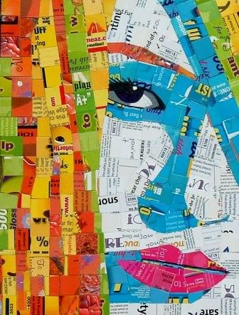 Sandhi Schimmel Gold, Schimmel Art, junk-mail mosaic portraits, figurative art mixed media