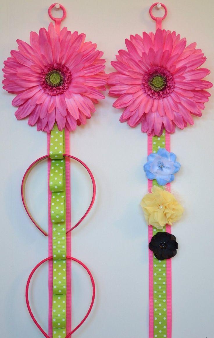 Vintage hair accessory holder - Hair Accessories Storage Funky Flower Matching Headband Holder And Hair Bow Holder Matching Set