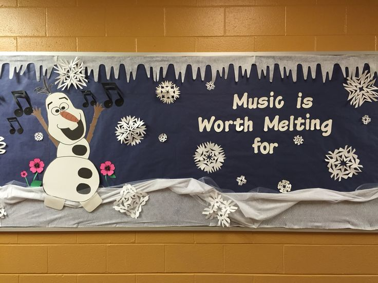 School Bulletin Board. Winter and Christmas. I made a bunch of Olafs from Frozen, and posted them all over the school. Laminate them and use them year round.