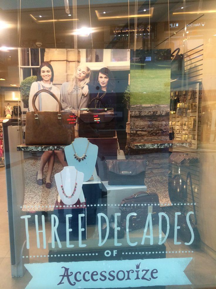 Accessorize; open back window,vintage,promotional display,celebration