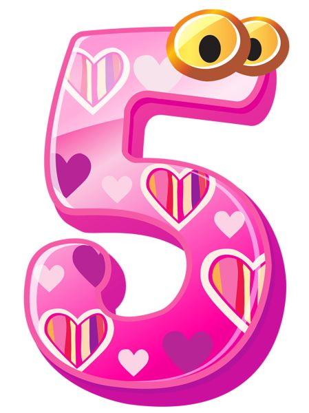 Cute Number Five PNG Clipart Image