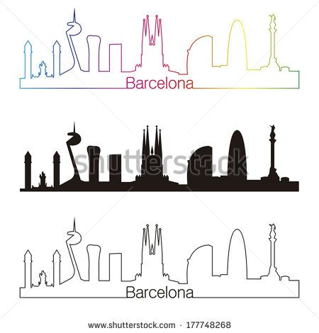 Barcelona skyline linear style with rainbow in editable vector file - stock vector