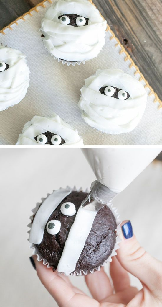 Chocolate and Vanilla Mummy Cupcakes | Click Pic for 42 Halloween Party Food Ideas for Kids to Make | Easy Halloween Treats for Kids To Make
