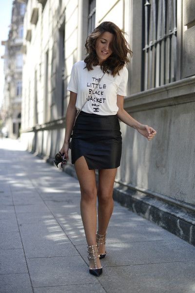 Leather Skirt And T Shirt