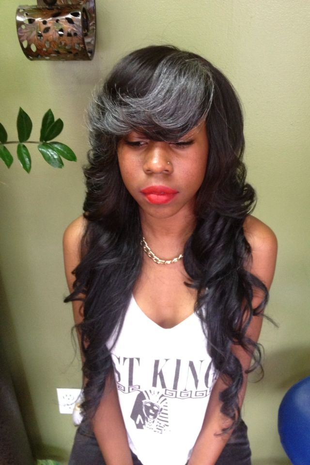27 best long weave images on pinterest long weave hair styles long layered weave with gray bangs pmusecretfo Image collections
