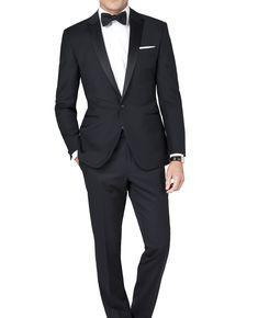 Fitzgerald Black Mohair Blend 1-Button Slim Fit Dinner Suit,