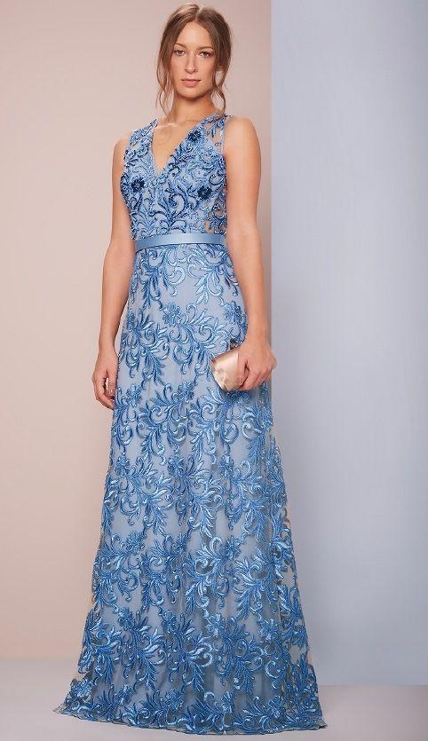 vestido de festa renda azul