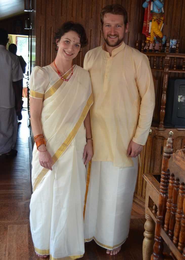 Couple in customary attire of Kerala
