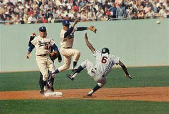 1965 World Series - Tony Oliva trying to break up the double play on Maury Wills, with Dick Tracewski following.
