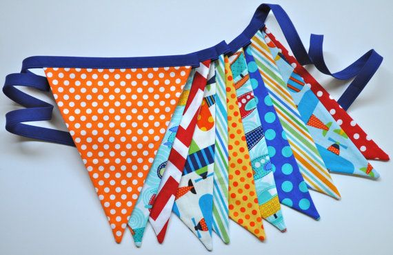 Boys Airplanes fabric banner bunting, Birthday party or room decor, primary colors, photo prop