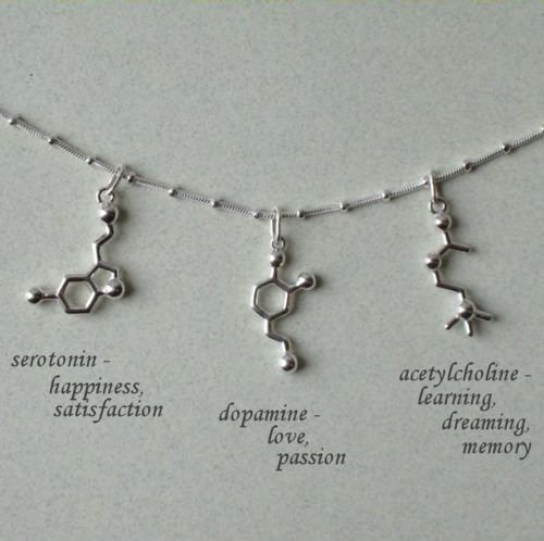 Geek Love - Biochemistry Necklaces. << Need chocolate molecule for Jacqueline