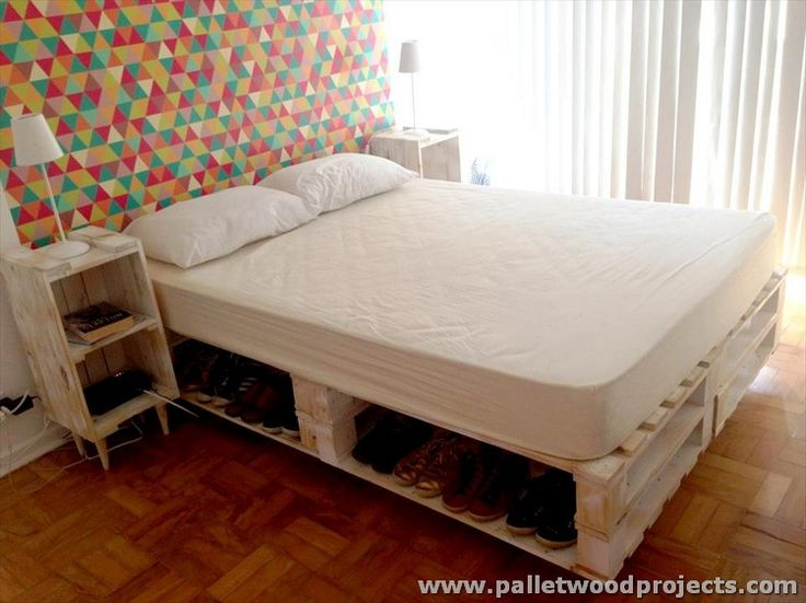 Pallet Bed with Storage and Side Tables