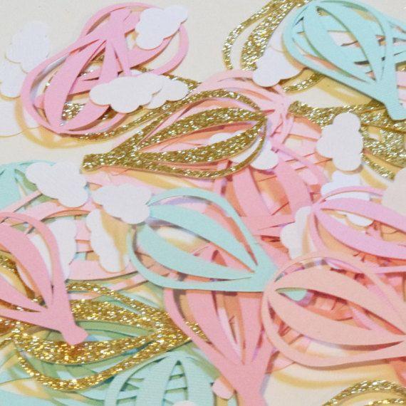 Hot Air Balloon Confetti - Hot Air Balloon Table Scatter - Hot Air Balloon Decorations - Girl Baby Shower - Gold Pink Mint - Hootsie