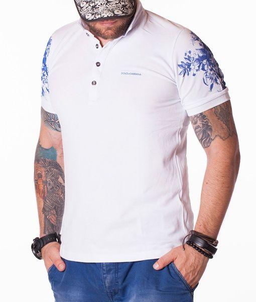 Dolce & Gabbana Tricouri Polo - D&G Floral Pattern tricou polo alb