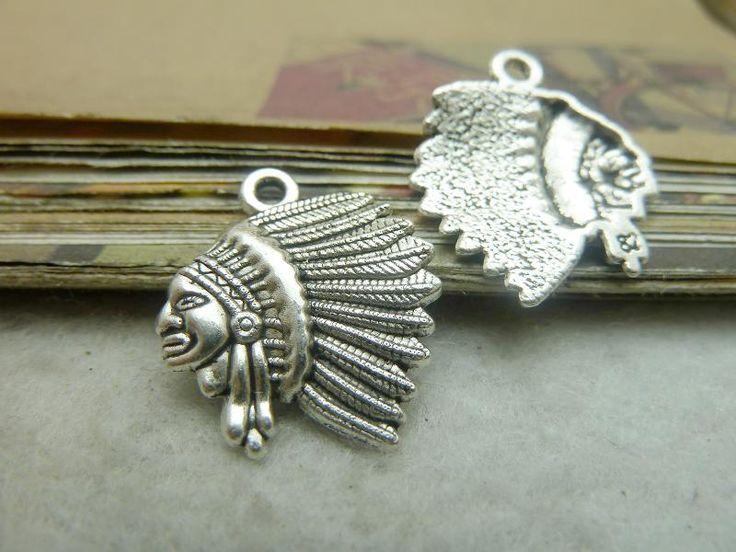 30 шт. 19*20 мм Индийский вождь племени подвески античный серебряный/бронзовый тон diy изготовления ювелирных изделий