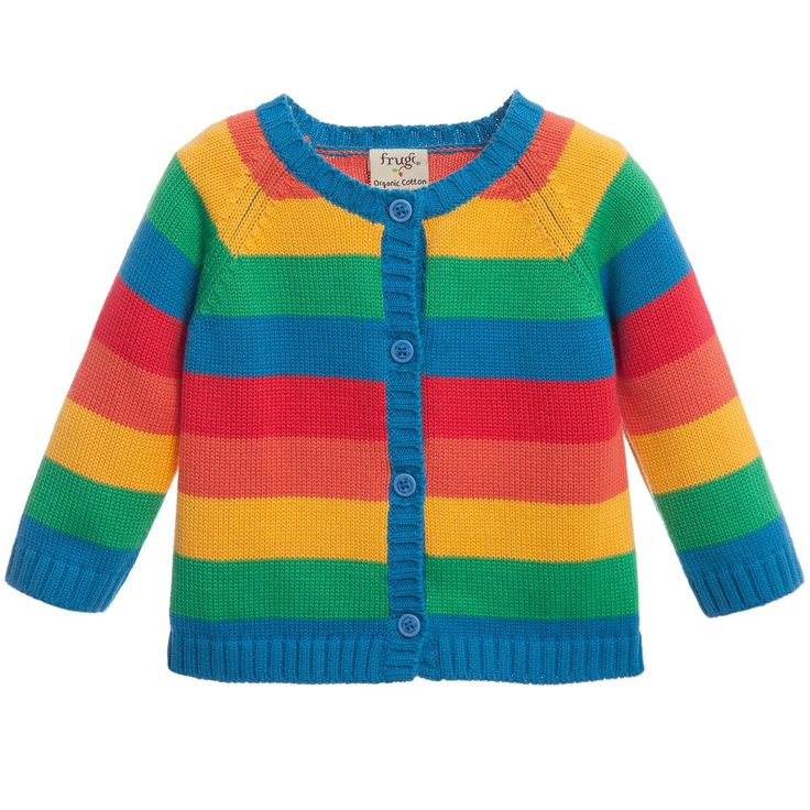 Frugi, multicoloured rainbow stripe cardigan, suitable for both boys and girls. Made with a soft and fine knitted organic cotton, it has blue ribbed trims and button fastenings on the front.<br /> <ul> <li>100% organic cotton (soft, fine knitted feel)</li> <li>Machine wash (40*C)</li> <li>Organically certified</li> <li>Large fitting</li> <li>Style name: Happy Day</li> <li>Designer colour: Rainbow stripe</li> <li>Button fastenings on the front</li> <li>Suitable for both boys and girls</li…