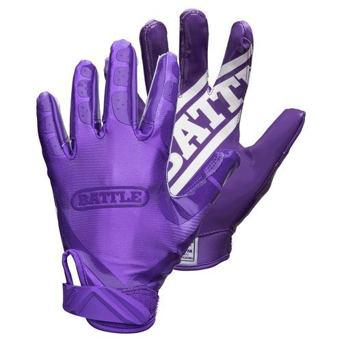 Battle Adults' Doublethreat Receiver Football Gloves Purple Bright/Bright Pink - Football Equipment, Football Equipment at Academy Sports